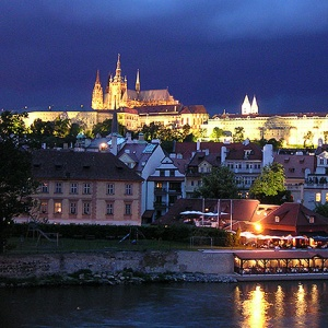 View of the Prague Castle after sunset hours.