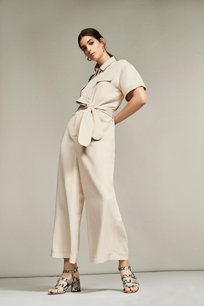 An off white loose boiler suit. Perfect for spring season. Image by Debenhams.
