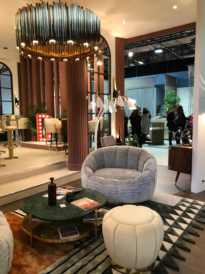 Curvy velvet furniture from the Essential Home stand at the Maison et Objet 2019. Image by Essential Home.