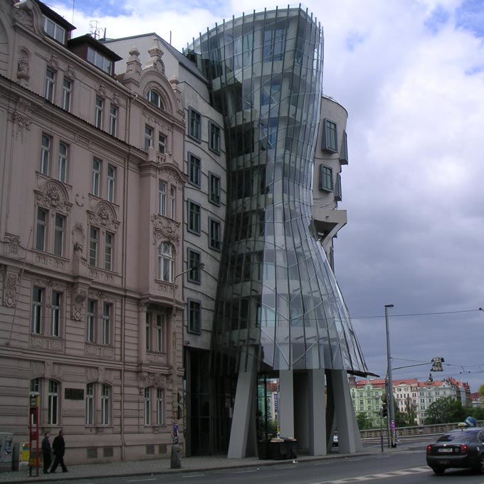 View of the Gehry's Dancing Building in Prague.