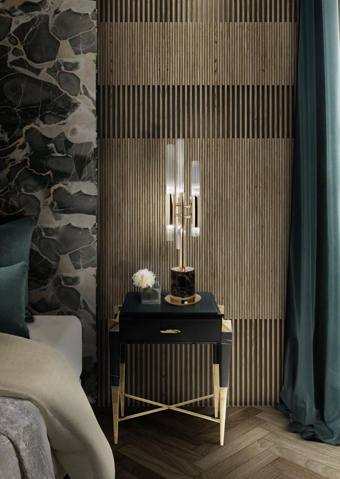 Now that's a beautiful black nightstand with brassy details against a statement wall light on an accent slat wall. Image by Pullcast.