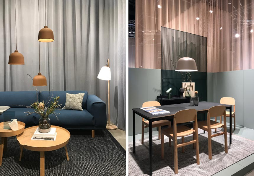 Two images of a living space with a blue sofa and a dining space on the right from the stand of Muuto at imm Cologne 2019.