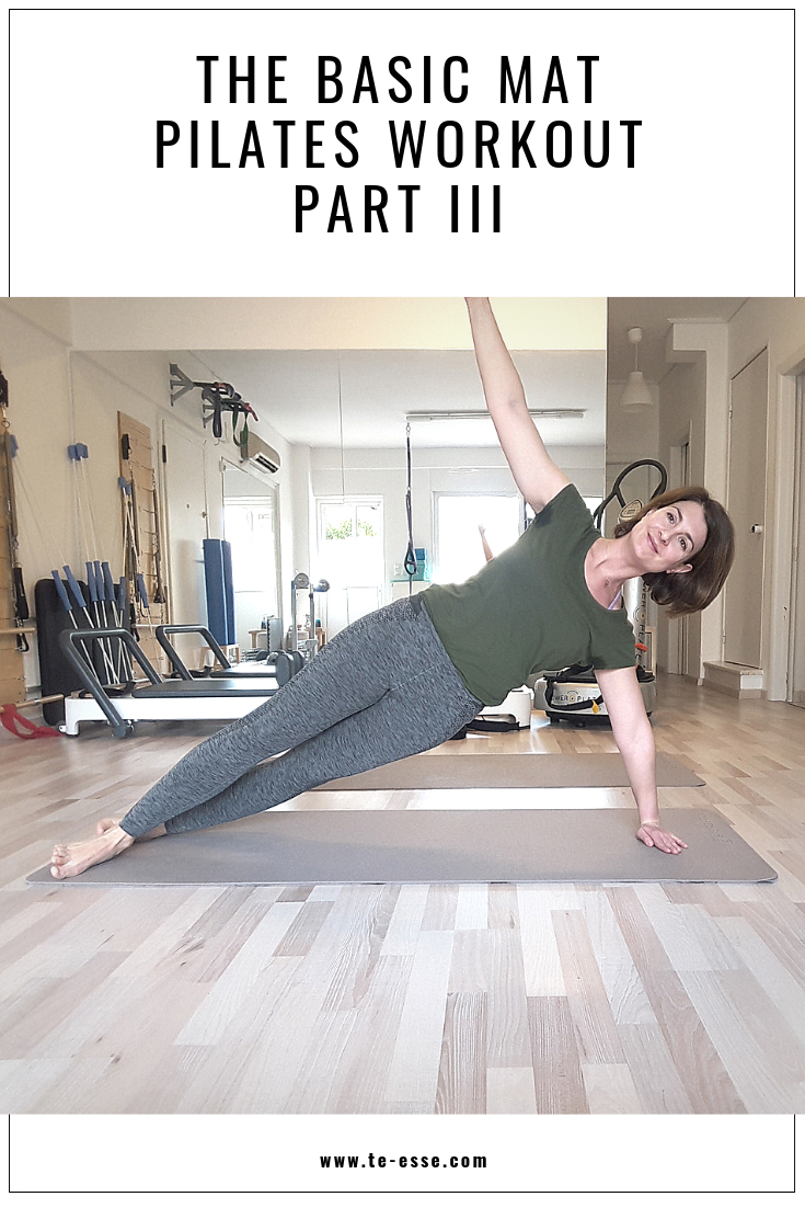 A pin graphic with Ifiyenia in a Pilates position from the third part of this web series.
