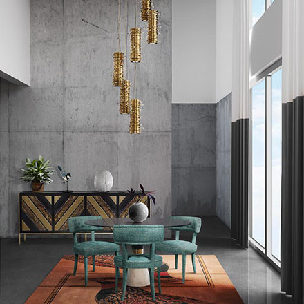 A stunning dining space with Mid century furniture, a bare concrete accent wall and a statement pendant light over the dining table called Pearl. Image by Luxxu.