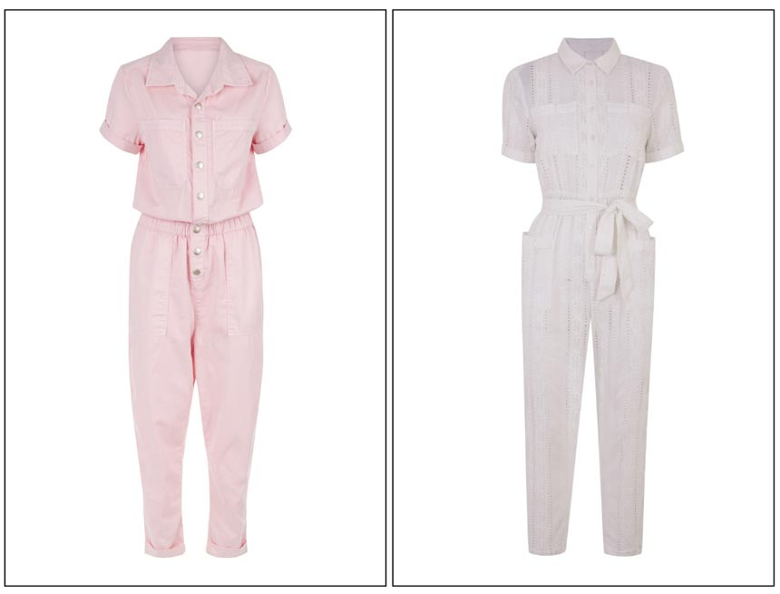 On the left a cutout image of a soft pink jumpsuit. On the right a cutout image of a white jumpsuit. Both jumpsuits from Miss Selfridge.