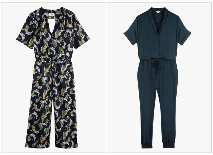 On the left a print jumpsuit on the right a blue jumpsuit with a tie belt around the waist. Both images from Hush.