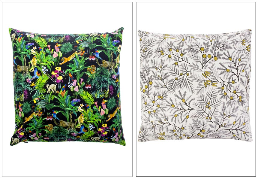 Two images by two decorative throw pillows with a print pattern. Images by Natural History Museum.