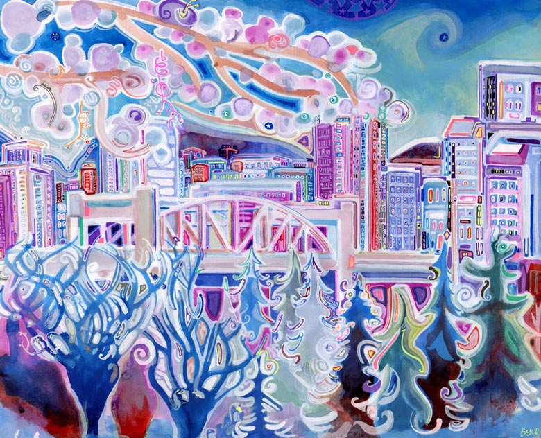A painting by Josh Buyer named The Burrard Street Bridge