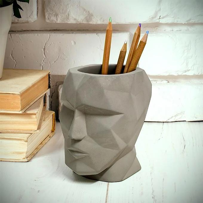 The Head - Concrete Pen Cup. A super cool pencil holder made of concrete by Animi Causa.