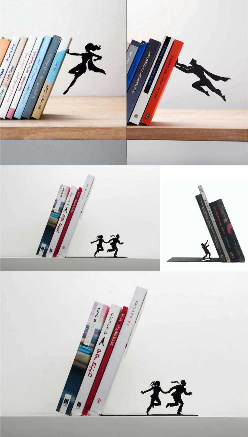 Images by Animi Causa for some interesting book ends featuring the black silhouettes of superwoman, superman or a couple running.