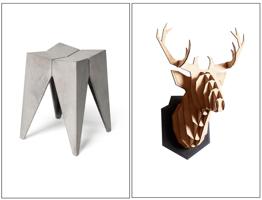 On the left: Bridge Concrete Stool Seat from Decoville. On the right: The Großstadthirsch Eiche, a wall decor of a deer's head made of wood and concrete from HEIMATWERKE.