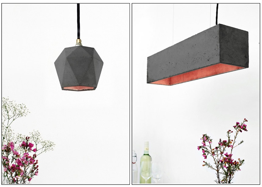 On the left: Concrete Hexagon Pendant Light By Gantlights from Lime Lace. On the right: Concrete Pendant Light By GANTlights from Lime Lace.