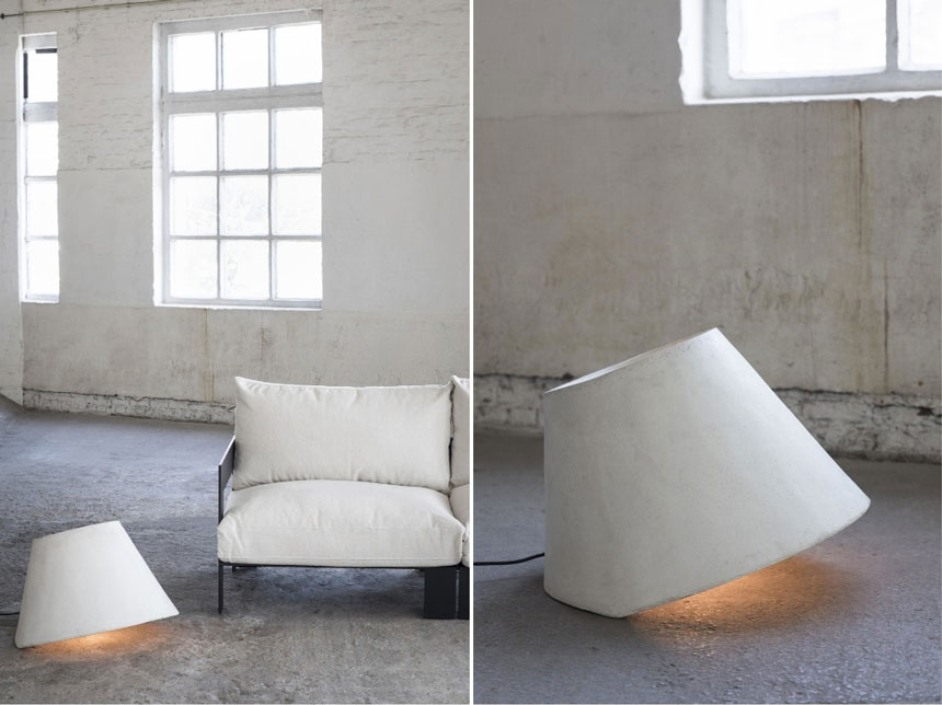 These two images of a lamp shade made of concrete that's making a sensation as a floor lamp named as Eaunophe L is certainly a conversation starter. Image by Nedgis.