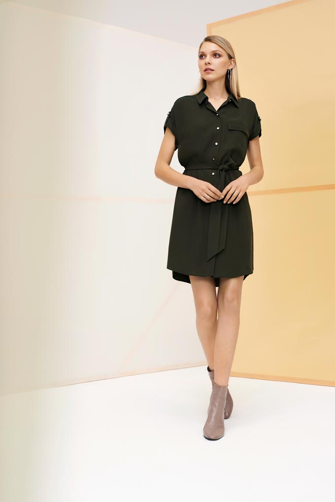 This dark khaki green short dress style with ankle boots is my cup of tea. Image by Dorothy Perkins.