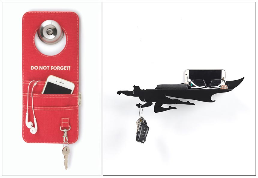 On the left a red pocket holder hanging from a door knob that holds cell phones and keys. On the right a black shelf for laying the essentials i.e. glasses and cell phone shaped like superman. Images by Animi Causa.