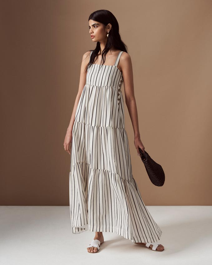 A white stripy maxi sleeveless dress. Image by Marks & Spencer.