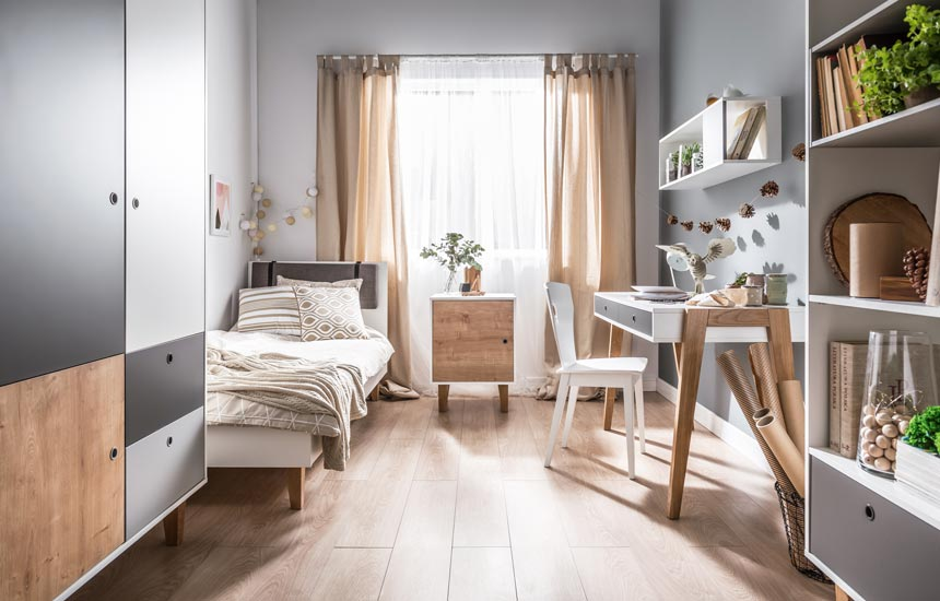 A beautiful teen's bedroom in a neutral color palette. Image by Cuckooland.