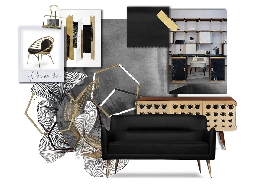A moodboard based on black decor with gold accents. Timeless and precious. Image by Essential Home.