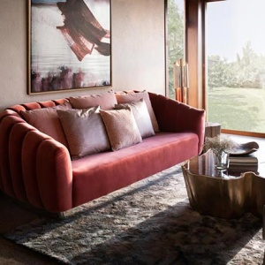 Contemporary living room with organic inspirations with SEQUOIA center table, OREAS bold red sofa, and NAJ grey armchair. Image: Brabbu Design Forces.