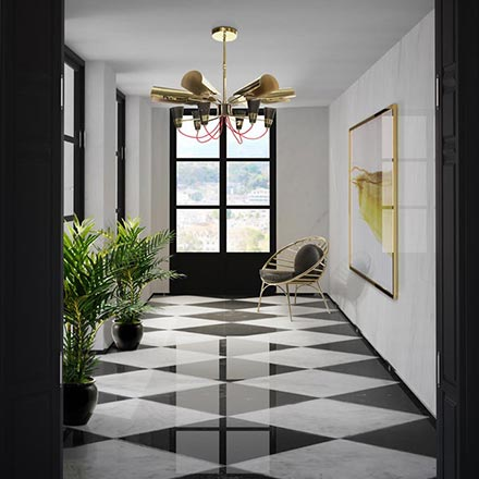 A gorgeous entryway with white and black marble checker flooring and a stunning golden chandelier. Image by DelightFULL.