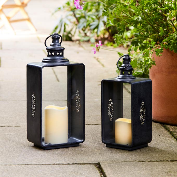 Two great looking outdoor lanterns. Image by Lights4fun.co.uk ©Lights4fun Ltd. 2019  Image Shot By Jake Seal.