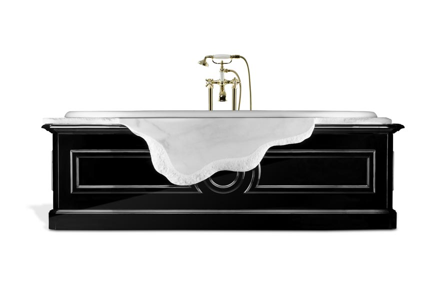 Cutout image of a stunning bathtub that combines Ibiza marble and high gloss black wood. Image by Brabbu Design Forces.