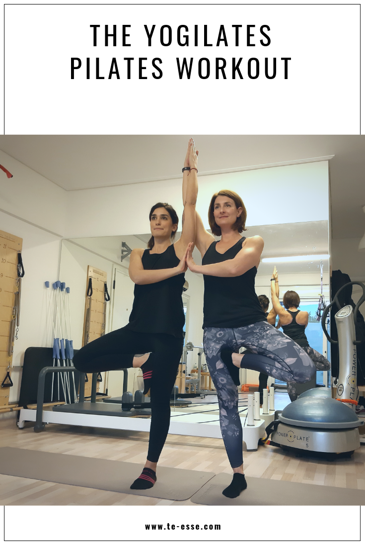 A pin graphic with an image of Ifiyenia and Tina while doing a Yogilates exercise.
