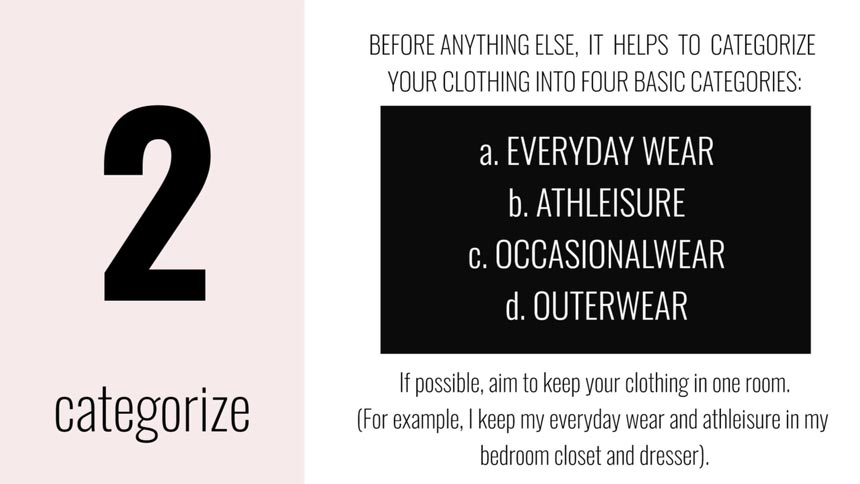 Snapshot from the video 'How to Organize Your Closet as a Maximalist' that describes the four basic categories of clothing.