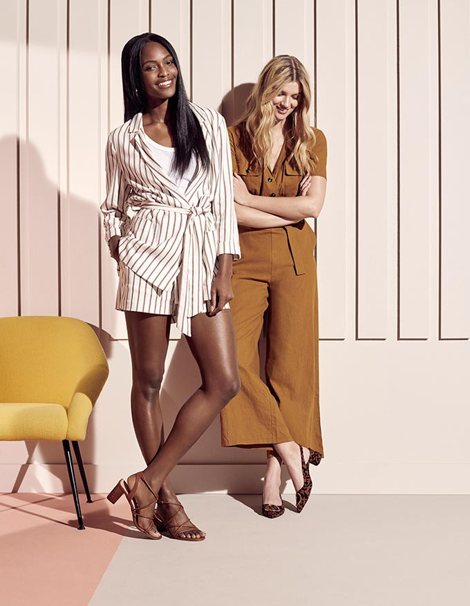 I love the camel linen jumpsuit, but the striped suit with shorts is also a great alternative. Model image by Dorothy Perkins.