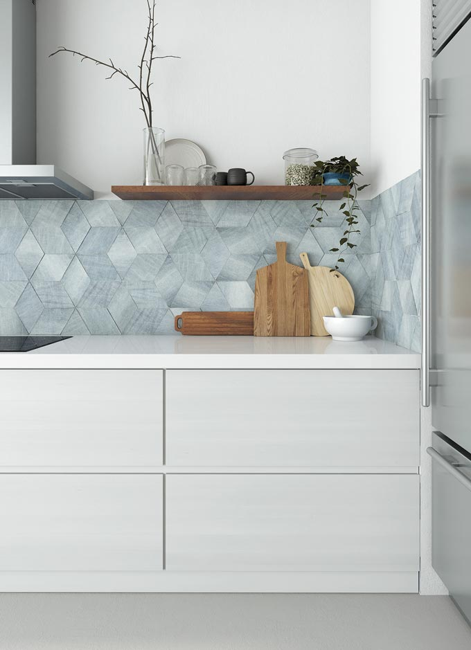 I love this shimmery light blue backsplash in a contemporary kitchen with off white cabinetry. Image: WOW Design.