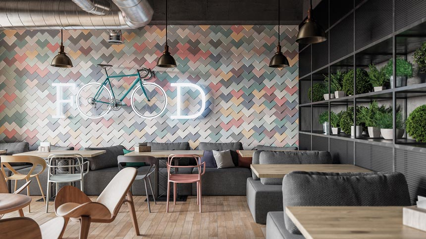 I love this cafe restaurant with a fantastic accent wall made with pastel colored tiles. Image: WOW Design