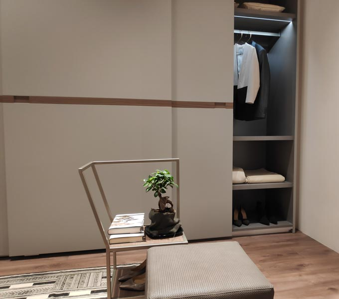 View of a bedroom from the Maronese ACF booth at iSaloni 2019 in Milan.