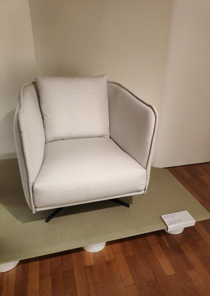 An off white armchair made by a Spanish designer for an installation during Milan's Design Week.
