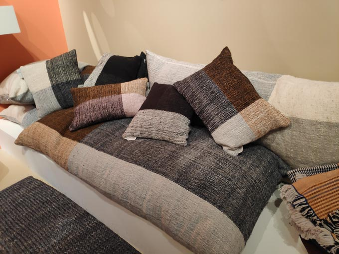 Various color blocked textured pillow from Ames at iSaloni 2019 in Milan.