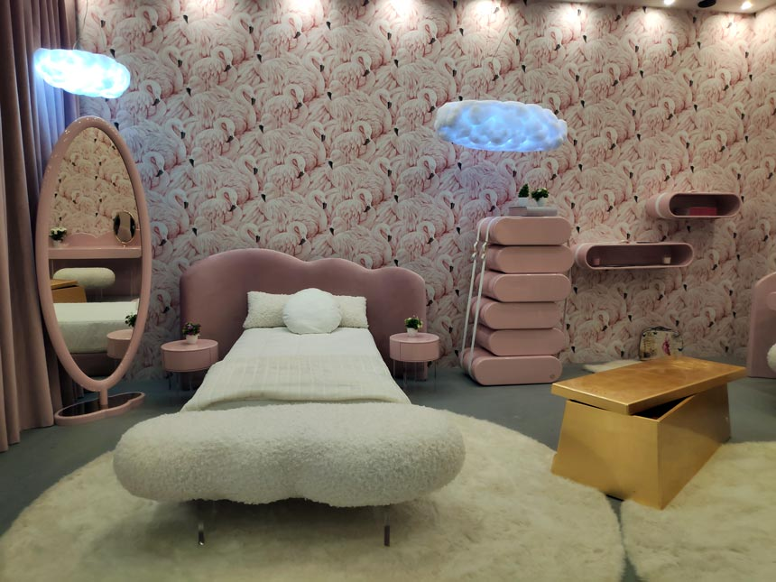 A pink dreamy girl's bedroom from Circu at iSaloni 2019 in Milan.