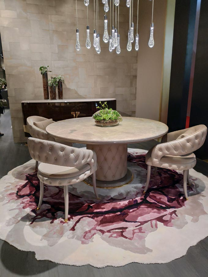 A stylish luxurious dining room at iSaloni 2019 in Milan.