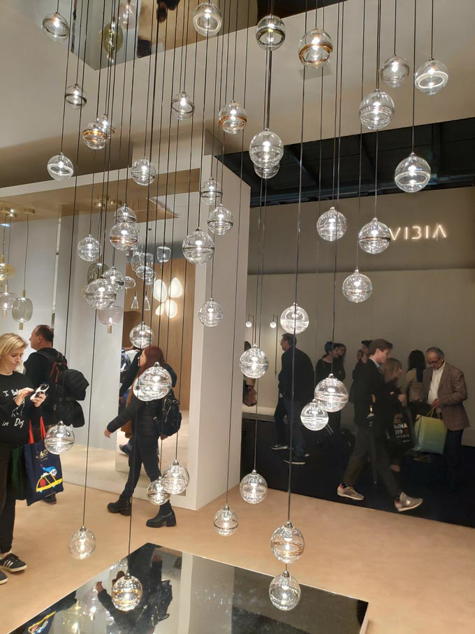 Round bulbs from a large pendant light at Euroluce 2019 in Milan.