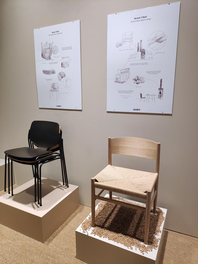 The Nestor and the Nova chairs by Mater at iSaloni 2019 in Milan.
