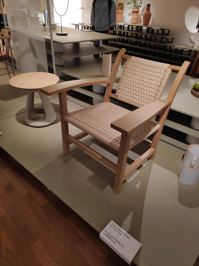 A wooden frame chair by a Spanish designer on display during Milan's Design Week.