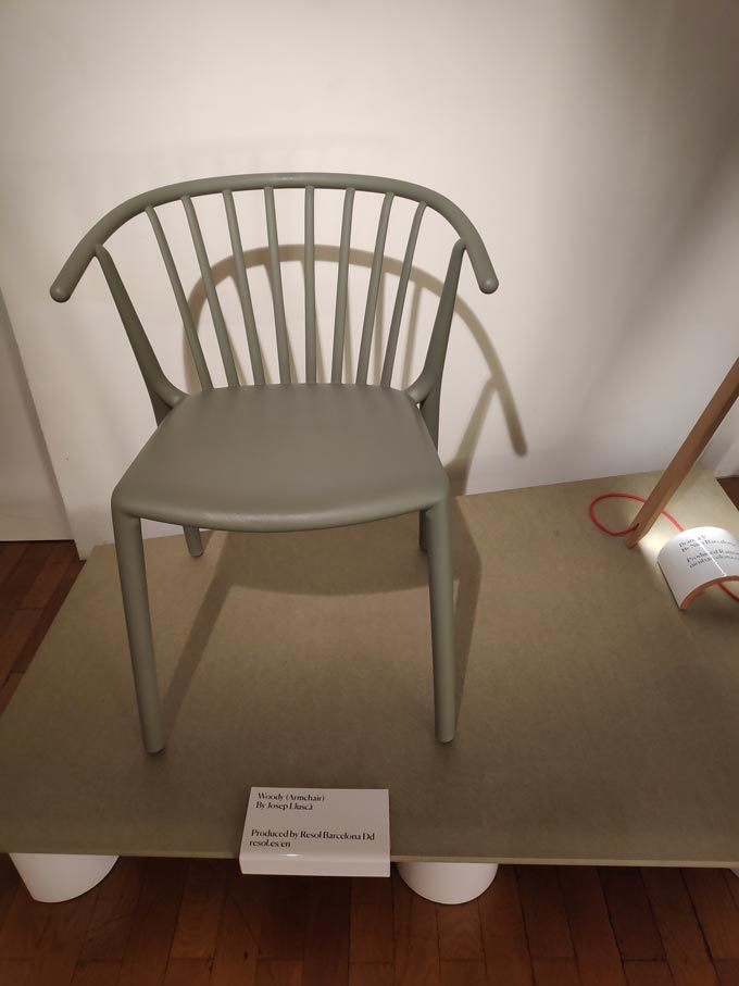 A grey chair designed by a Spanish designer on display during Milan's Design Week.