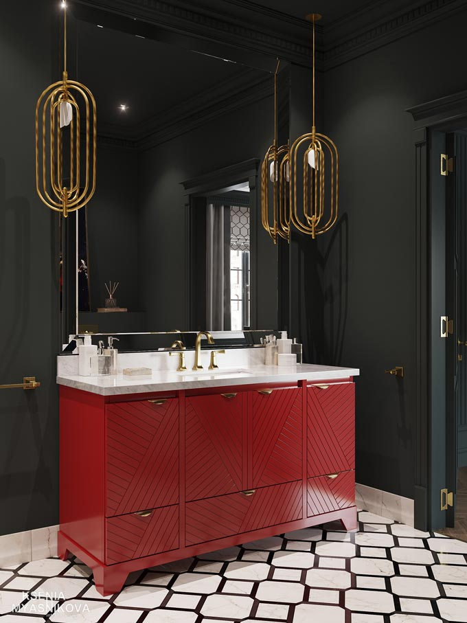 A stunning luxurious bathroom based on strong color contrasts, a red vanity cabinet against a really dark green wall. The Turner pendants lights add a sense of luxury. Image by DelightFULL.
