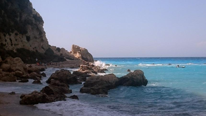 The rocky edge of Agios Nikitas beach in Lefkada Greece. Image by Velvet Karatzas.