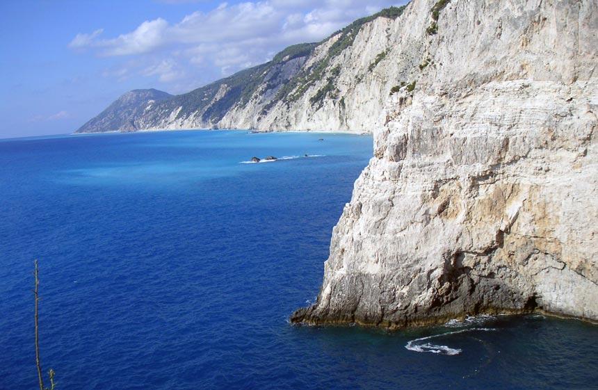 View of the white cliffs of the west coastline of Lefkada. Image by Velvet Karatzas.