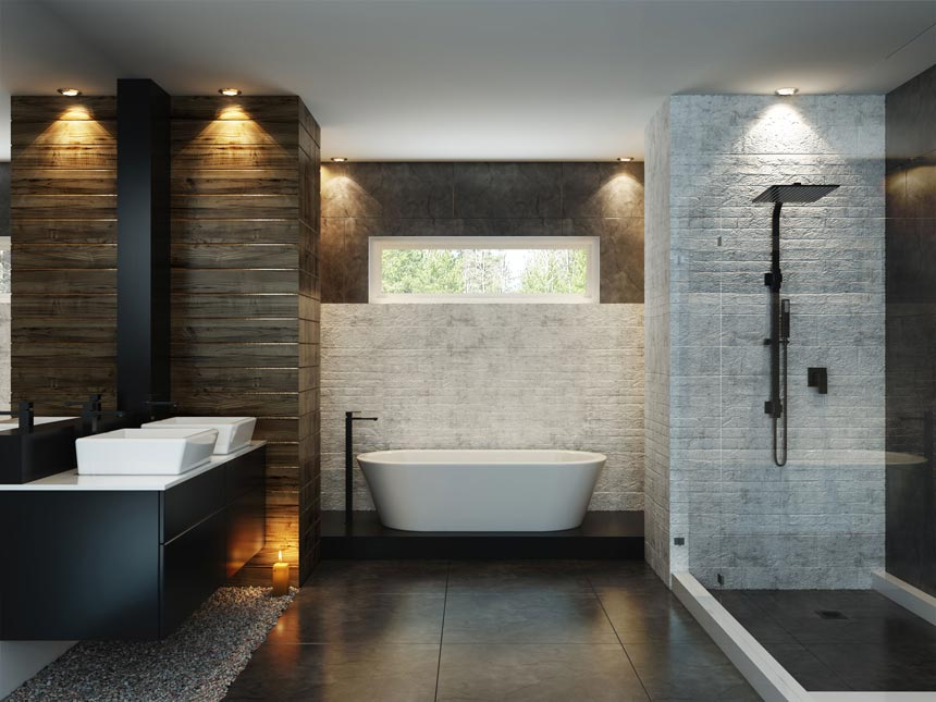 I love this contemporary bathroom with various textured wall tiles, dark floor tiles, a tub in the background and a shower opposite the vanity cabinet. Image by Meir Australia Pty Ltd.