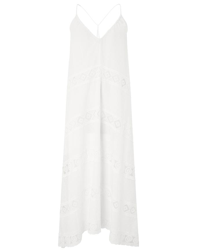 Cut out of a white dress with spaghetti straps from Accessorize.