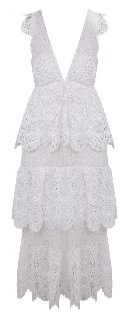 A tiered laced white dress by Miss Selfridge.