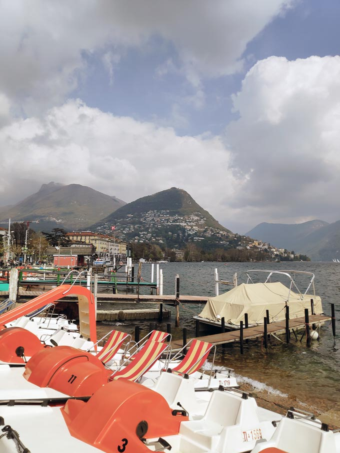 Partial view of Lake Lugano from the city's waterfront.