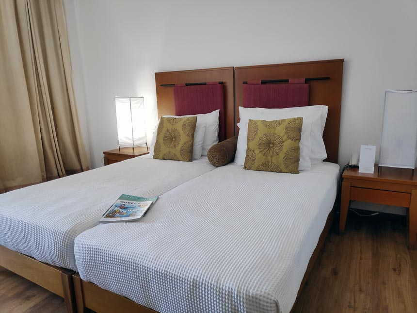 A double bed room at Grecotel Lux Me Rhodos.