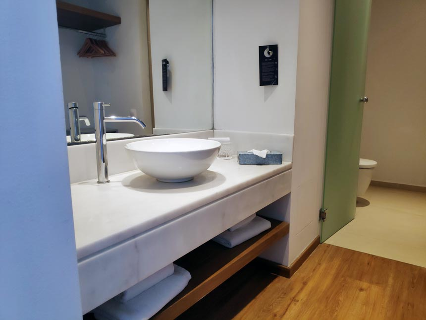 Partial view of a renovated bathroom.