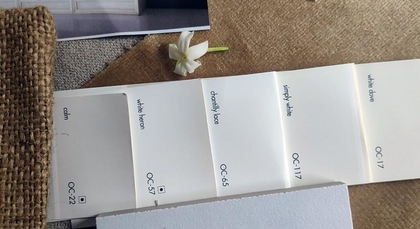 my favorite 5 off white color swaps from Benjamin Moore